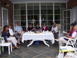 Visitors lunching on our patio